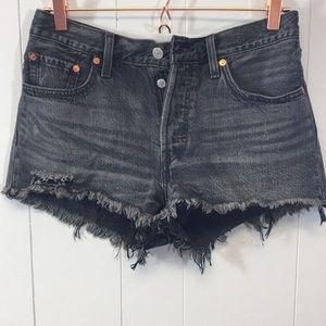 Levi's 501 Black Button fly Cutoff Shorts Size 28